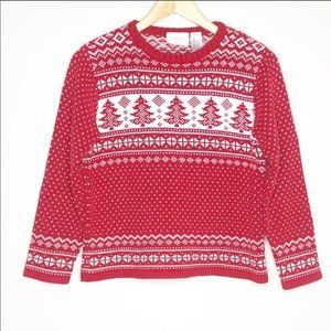 Liz Clairborne Fair Isle Nordic Ugly Christmas Sweater Red White Pines Sz S P